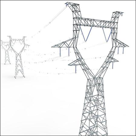 电线杆 高压电线杆 Modular Powerlines 3D Model