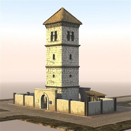 unity3d游戏场景模型之老旧村庄(塔楼与周边village_road_cross)