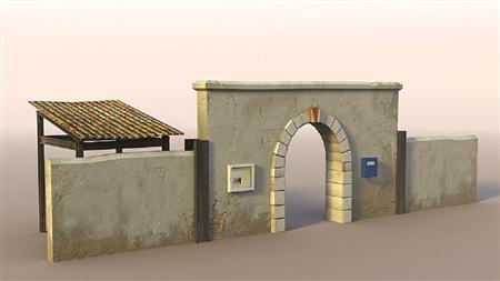 unity3d游戏场景模型之老旧村庄(墙与拱门wall_gate)