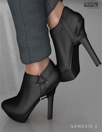 皮鞋 高跟短靴  Strapped Ankle Boots for Genesis 2 Female