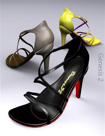 交叉带的高跟鞋 Cross Strap Heels for G2F