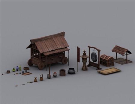 unity3d游戏模型Edo Japansese Town Props日本小镇道具