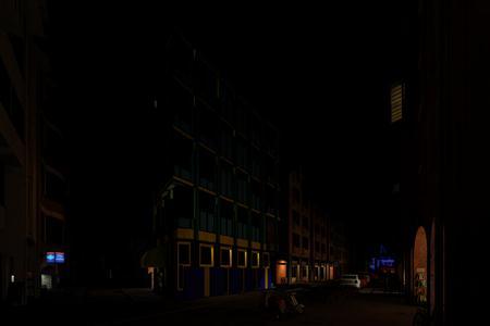 城市小镇 街道 夜景