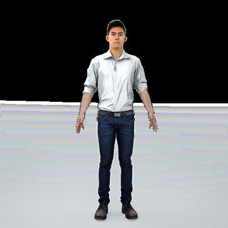 现代人物模型系列 白衬衫华人男子