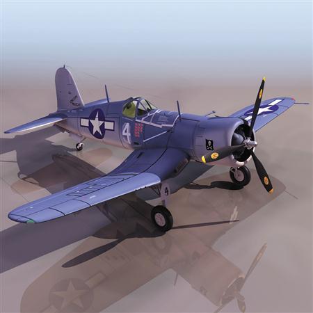飞机3D模型系列 19-20世纪飞机历史博物馆 F4U海盗战斗机
