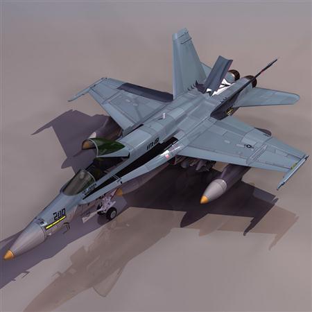 飞机3D模型系列 19-20世纪飞机历史博物馆 F-18战斗机 大黄蜂