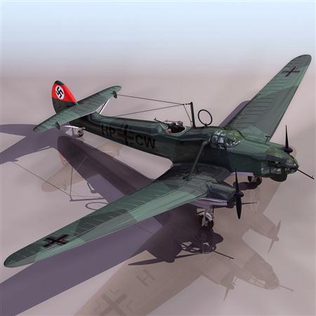 飞机3D模型系列 19-20世纪飞机历史博物馆 二战德国战斗机 FW58