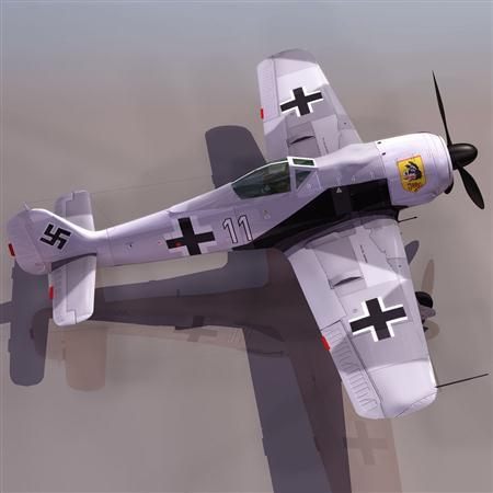飞机3D模型系列 19-20世纪飞机历史博物馆 福克沃尔夫Fw190 百舌鸟