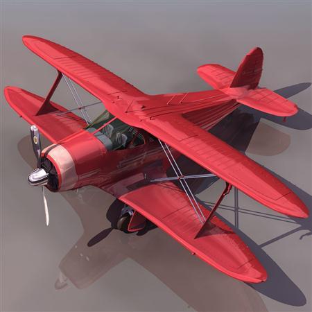 飞机3D模型系列 19-20世纪飞机历史博物馆 红色双翼飞机