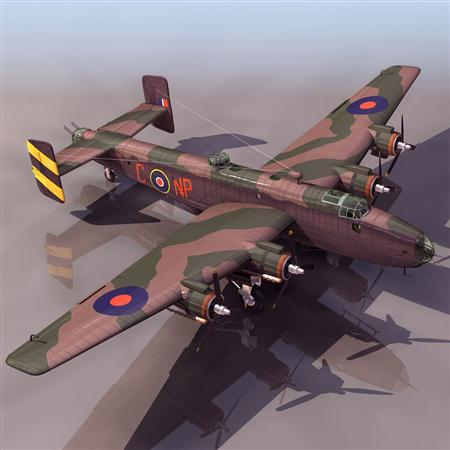 飞机3D模型系列 19-20世纪飞机历史博物馆 哈利法克斯轰炸机 Handley Page Halifax
