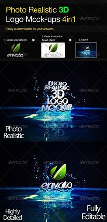 Photo Realistic 3D Logo Mock-up V.3  照片真实标志模型