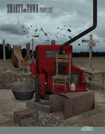 Daz3D Shanty Town Prop Set 棚户区道具