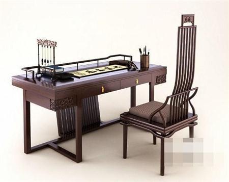 中式写字书桌椅组合  3D模型下载