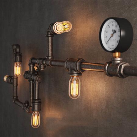 复古工业风格金属管具壁灯
