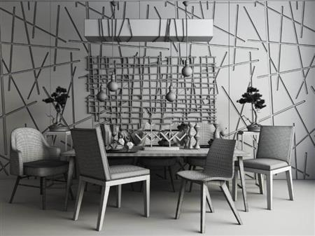 混搭风格餐桌椅组合