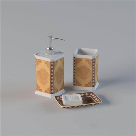 古典花纹洗浴瓶子香皂盒