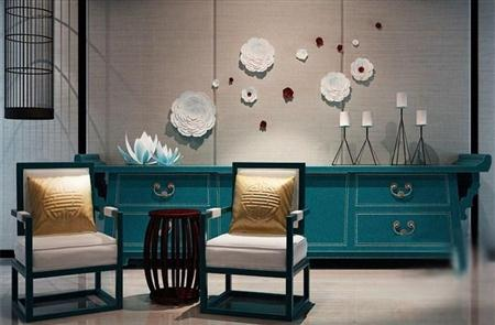 现代中式椅子茶几玄关柜饰品组合 3D模型下载