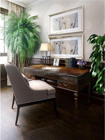 美式书房书桌椅组合