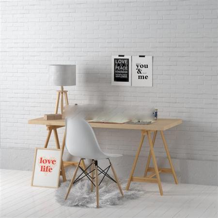 北欧简约风格书桌椅组合