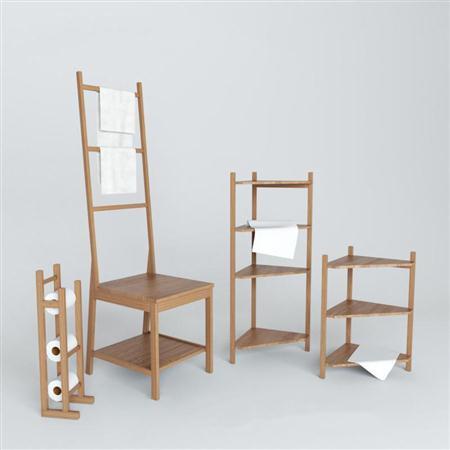 木质沐浴用品毛巾架2