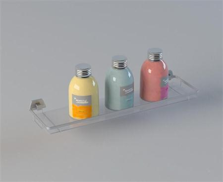 透明玻璃置物架和沐浴用品