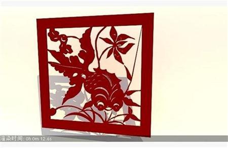 现代中式金鱼墙饰、雕花、剪纸