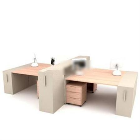 现代木质办公桌 3D模型下载