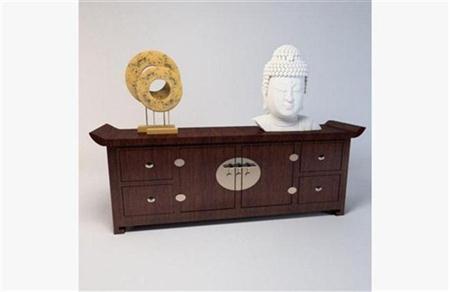 中式木质玄关柜 3D模型下载