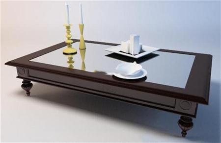 欧式木质方茶几 3d模型下载