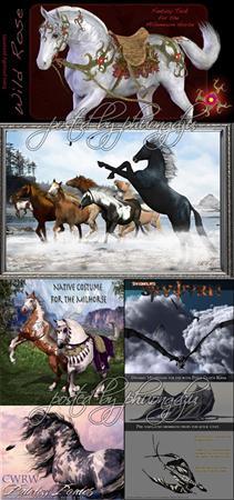 Daz3D Dragon and Horses龙和马