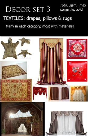 Decor Set 3: Textiles – drapes, pillows & rugs 纺织品 窗帘 毯子 枕头