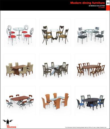 10ravens: 3D Models collection 024 Modern dining furniture 01 现代餐厅家具模型