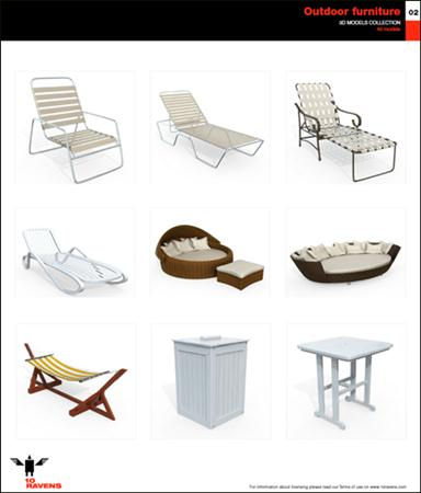 10ravens: 3D Models collection 014 Outdoor furniture 02 户外家具模型