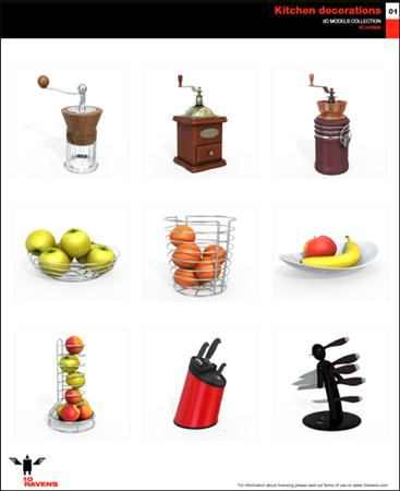 10ravens: 3D Models collection 013 Kitchen decorations 01 厨房装饰