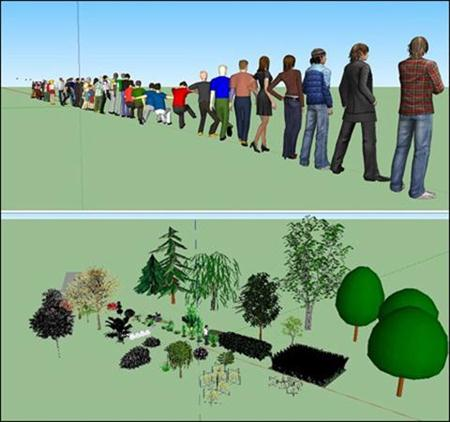 Sketchup 3D People and Vegetation Collections 人和植物集合
