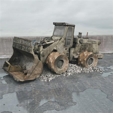 废弃工程车辆 挖土机