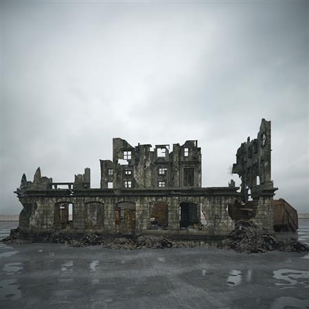 废弃楼房 坍塌成废墟