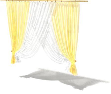 黄白色现代风格窗帘