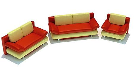 黄红色组合沙发 式样2