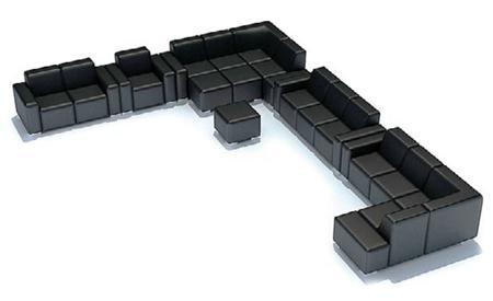 黑色U型沙发