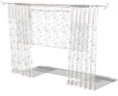 白花丝质窗帘